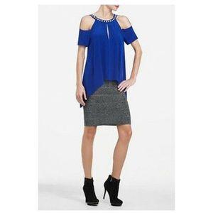 BCBG Blue Sapphire Silk Beaded Cutout Top